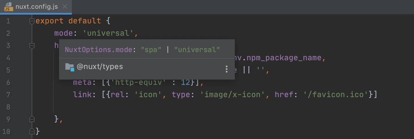 Quick documentation popup in nuxt.config.js