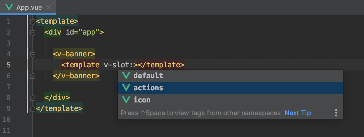 Completion for named Vue.js slots from library components