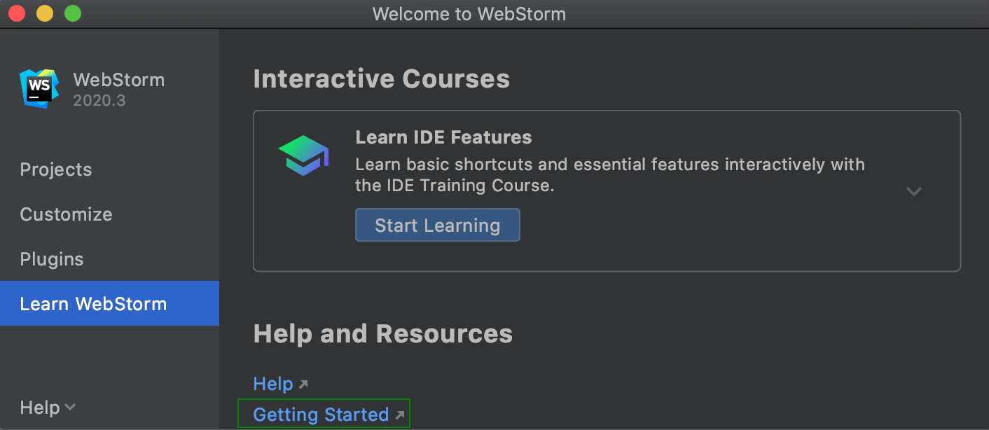 welcome screen: learn WebStorm