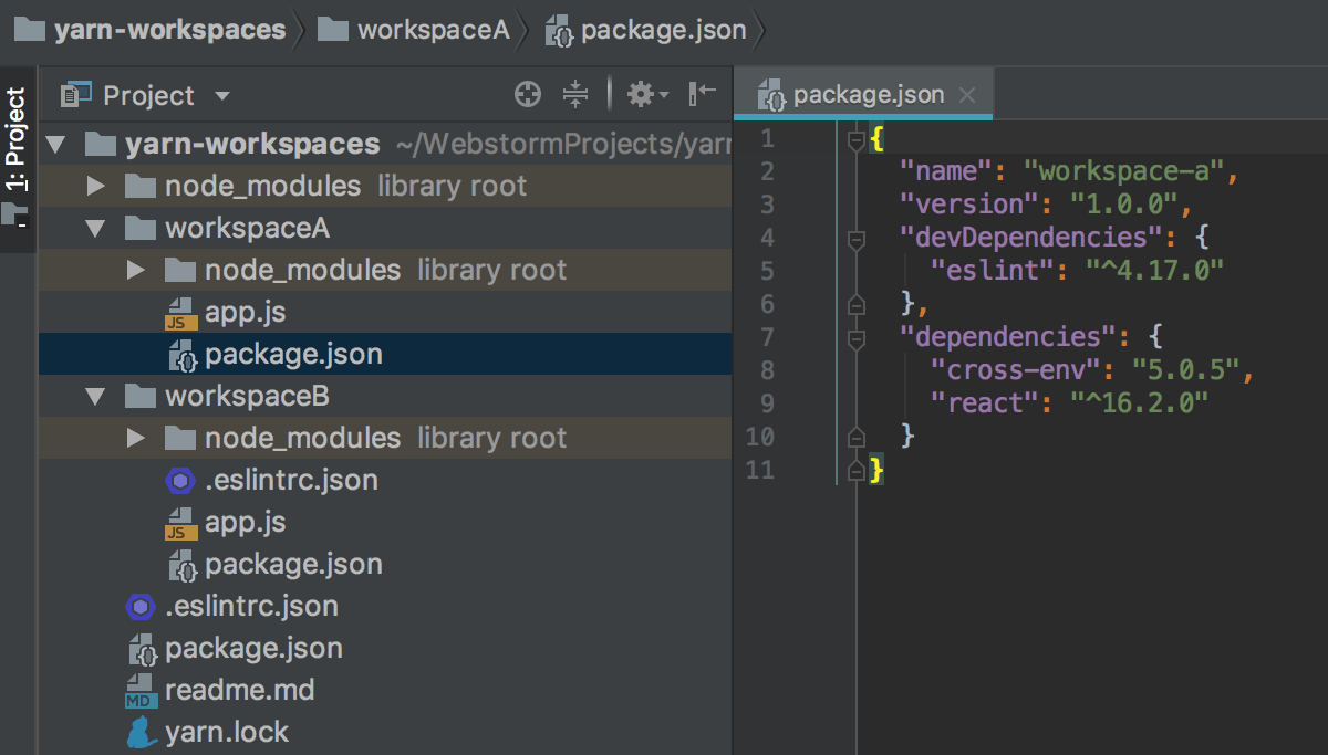WebStorm indexes all the dependencies listed in different package.json file but stored in the root node_modules folder