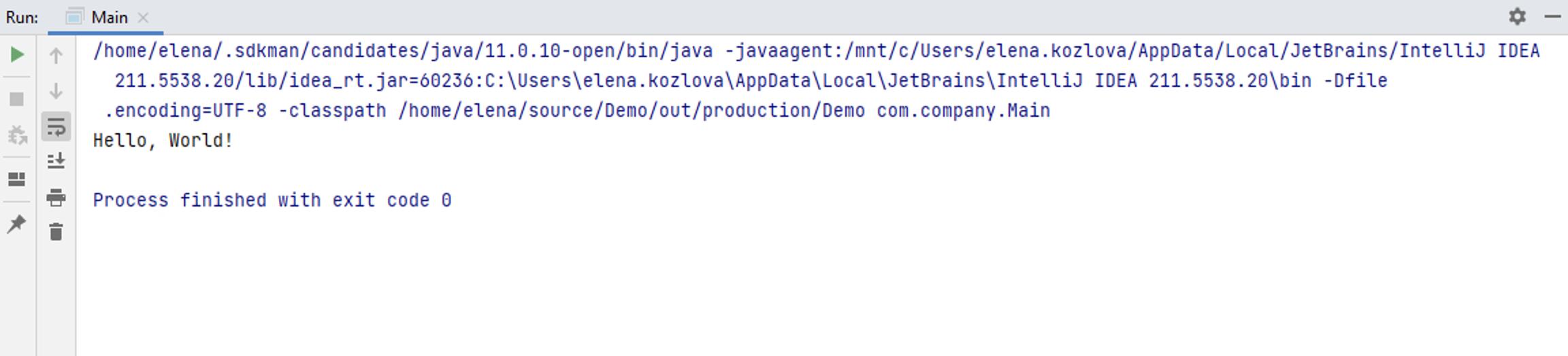 Run tool window: wsl results