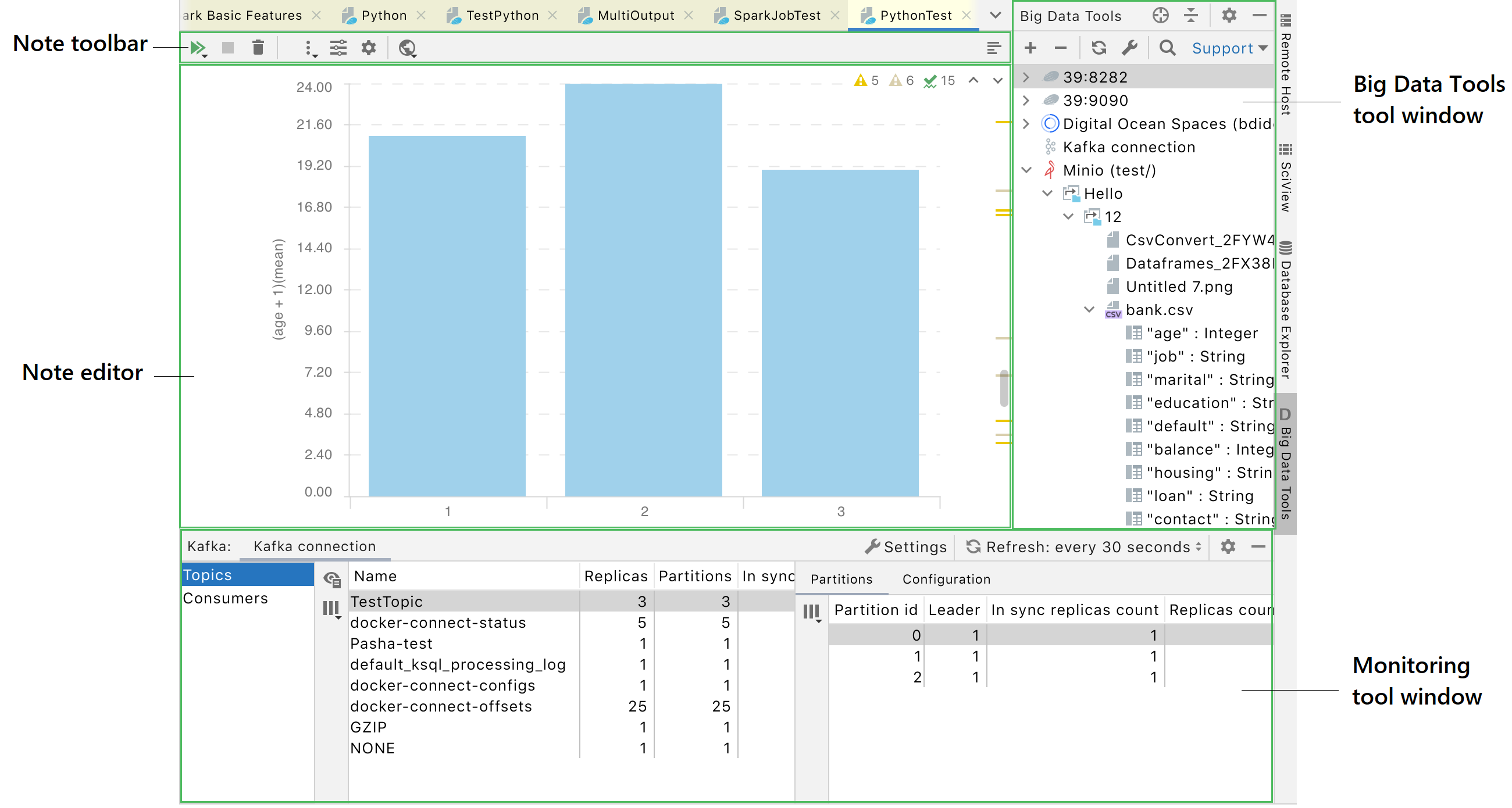 User interface of the IDE with the Big Data Tools plugin enabled