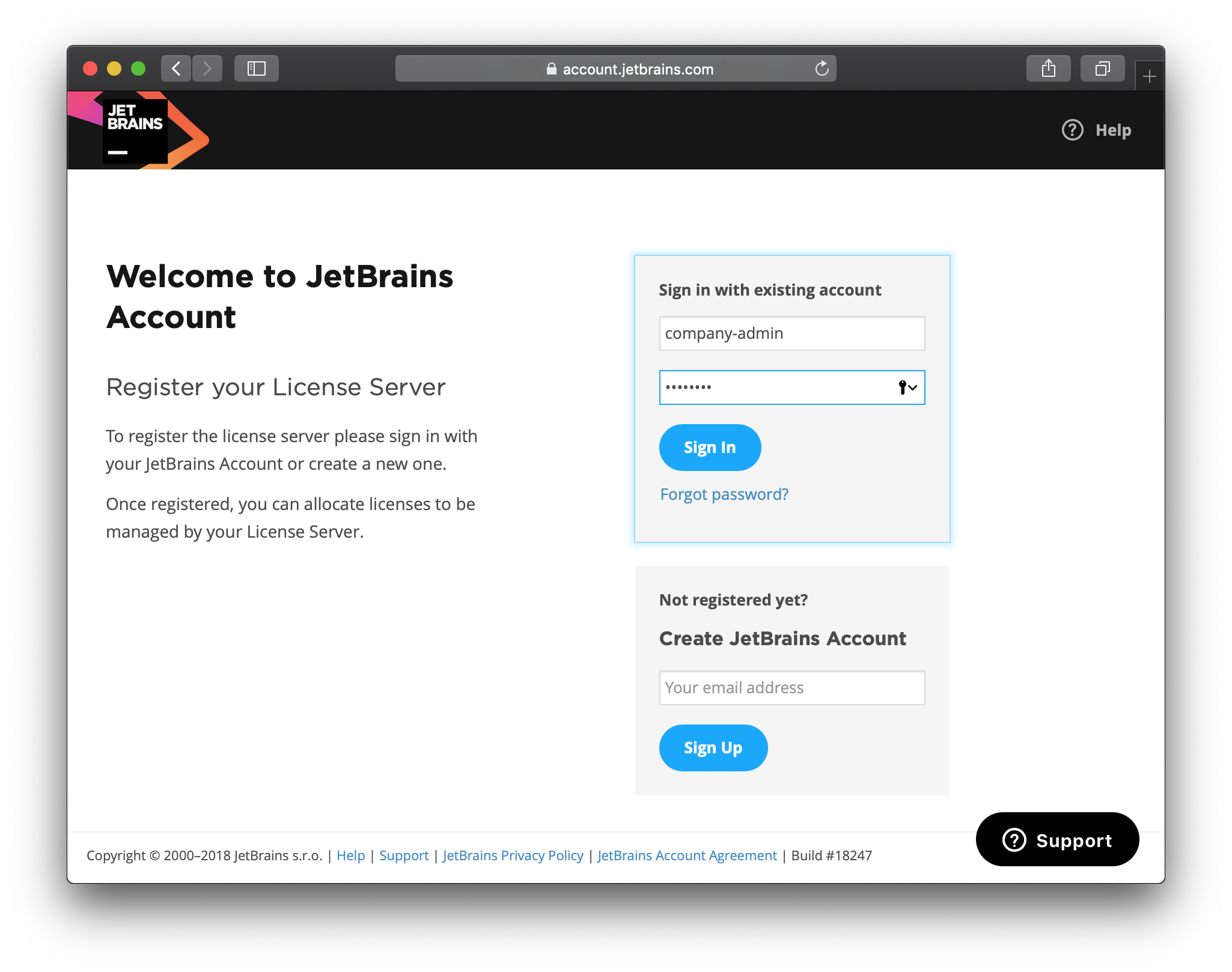 Log in with your JetBrains Account