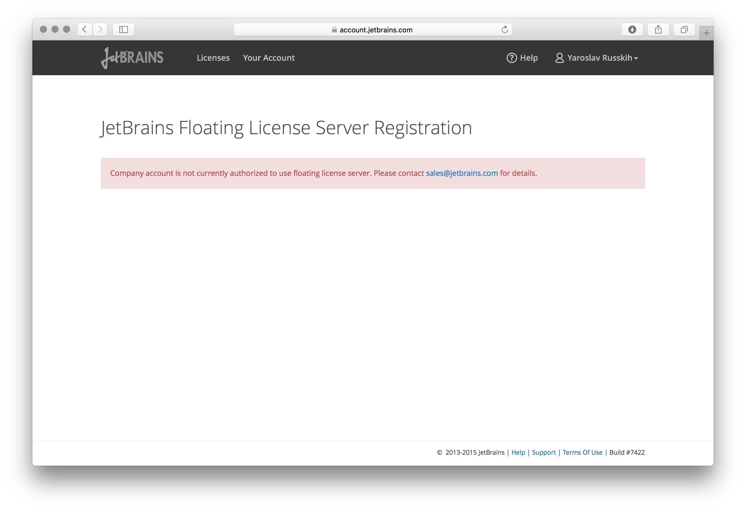 Company is not authorized - Help   Floating License Server