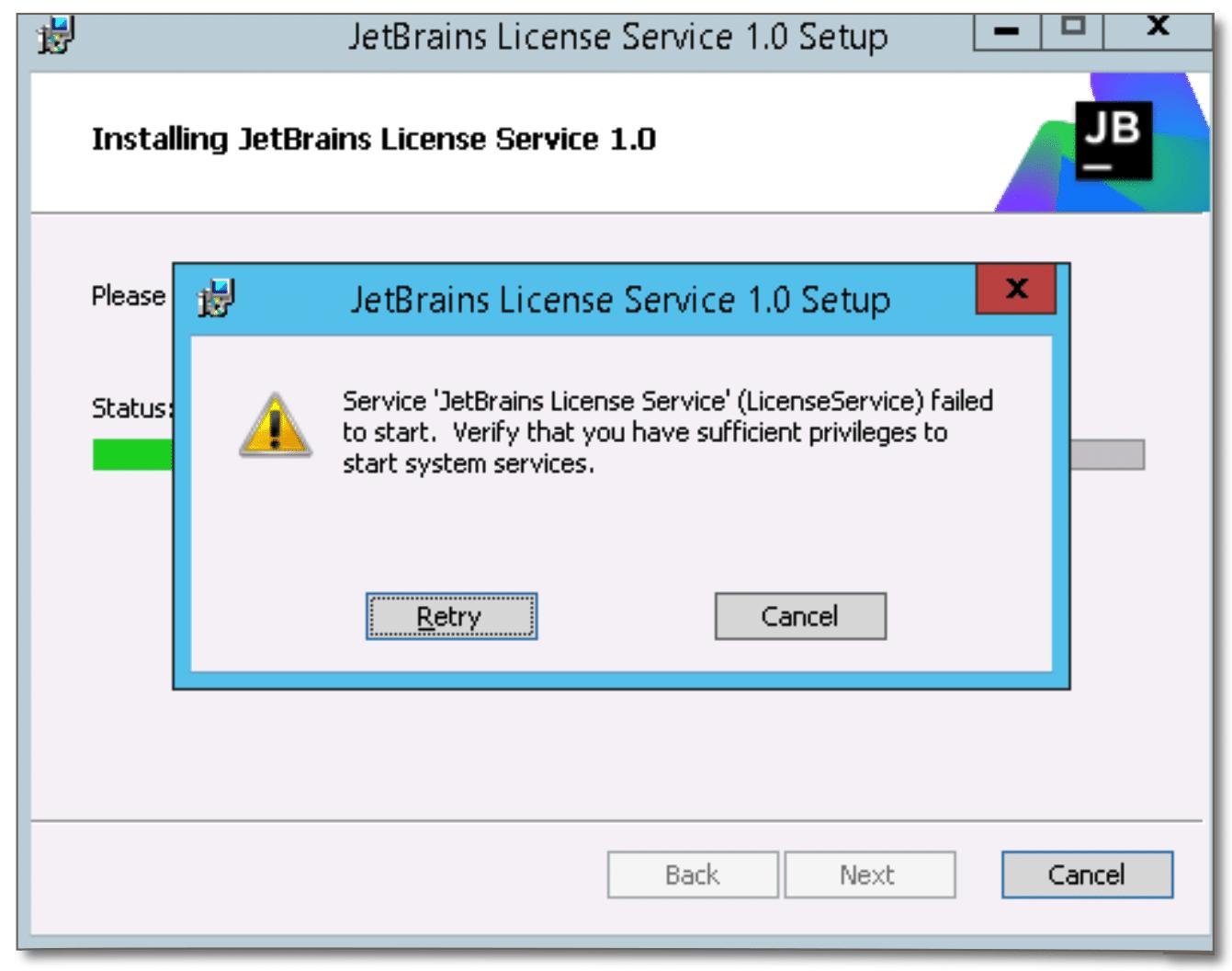 Fails during the restart step - Help | Floating License Server