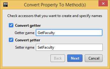 Converting a property to methods with a Rider's refactoring
