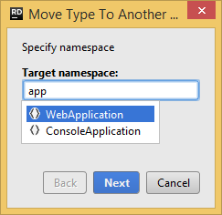 Rider. 'Move to another namespace' refactoring