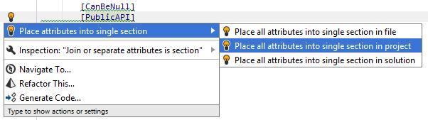 Multiple attributes quick-fix