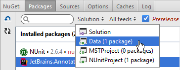Rider: choosing a project to manage NuGet packages