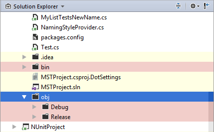 Solution Explorer with the 'Show All Files' option