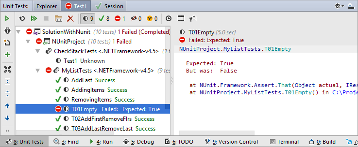 A unit test session displayed in the Unit Tests window