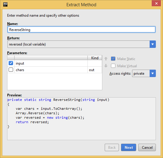 JetBrains Rider. Extract Method refactoring