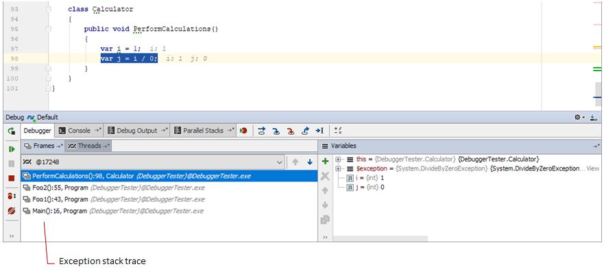 debug exception stack trace