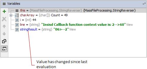 debug variables changed value