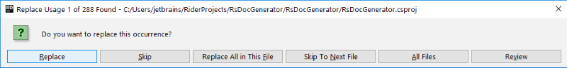 rdr replace usage