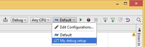 Choosing JetBrains Rider run/debug configurations