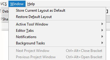 rdr window menu