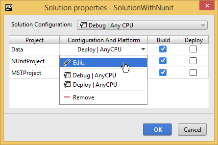 solution properties edit project config