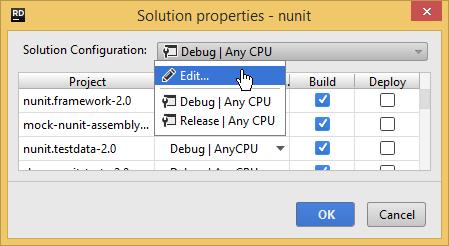 solution properties edit solution config