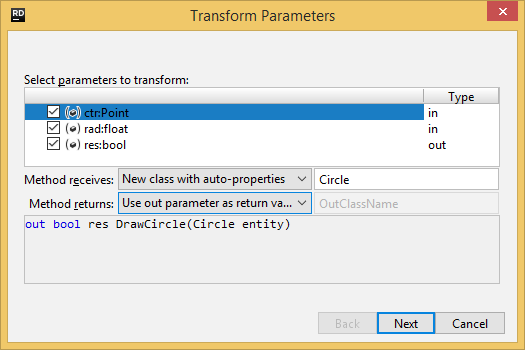 JetBrains Rider. Transforming method's parameters