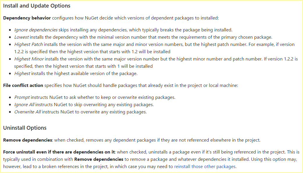 Visual Studio package manager options