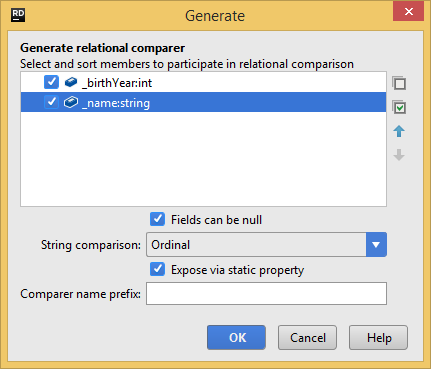Generating a relational comparer class with JetBrains Rider