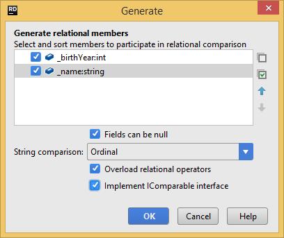Generating relational members with JetBrains Rider