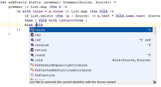 FSharp basic code completion ctrl space