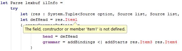 FSharp code highlighting error