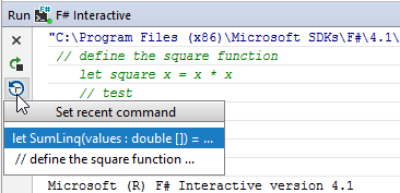 FSharp interactive set recent command