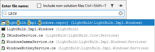 JetBrains Rider speeds up the search with CamelHumps