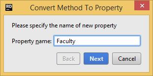Refactorings Convert Method to Property dialog box