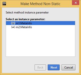 Refactorings Make Method Non Static dialog box