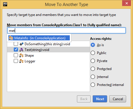 JetBrains Rider.'Move to Another Type' refactoring
