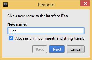 JetBrains Rider: Rename refactoring