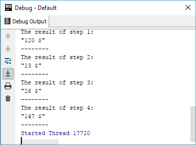 breakpoint evaluate log result