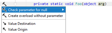 JetBrains Rider: Checking parameter for null