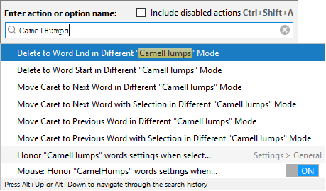 Alternative actions for CamelHump navigation