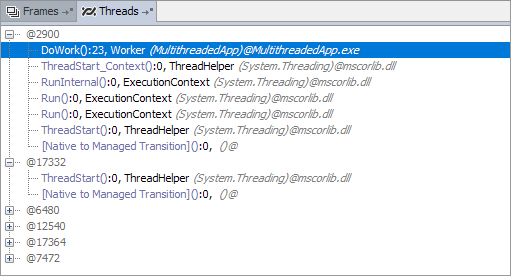 debug threads pane