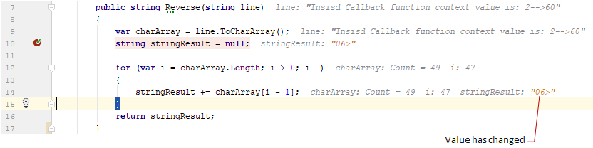 debug values inline
