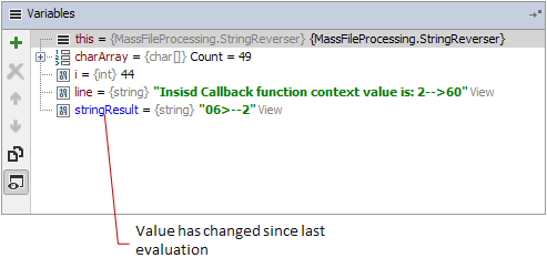 debug variables changed value