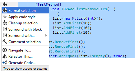 Reformatting currently selected code