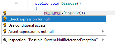 JetBrains Rider: Check expression for null quick-fix