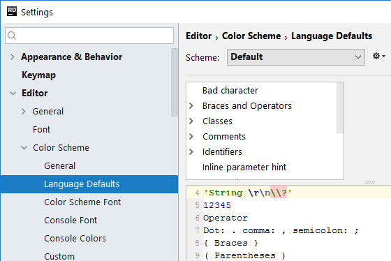 rdr settings language defaults