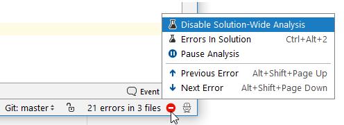 rdr solution wide analysis StatusBar