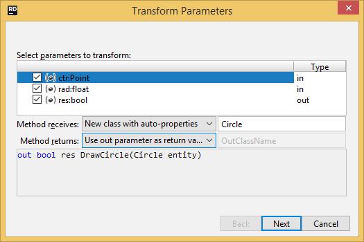 JetBrains Rider. Transforming method's parameters