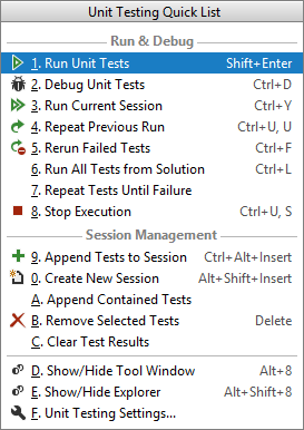 JetBrains Rider: Unit Testing Quick List
