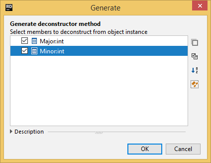 Generating the 'Deconstruct' method with JetBrains Rider
