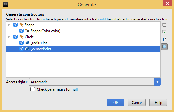 Generating type constructors with JetBrains Rider