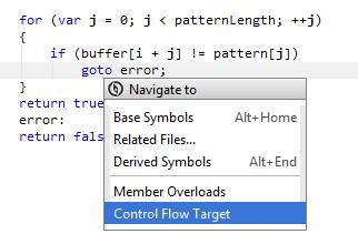 Navigating to control flow target